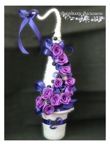елочка, новый год, оригинальные подарки, елочки ручной работы, подарки, праздник, розы из атласных лент, ручная работа, рукоделки василисы