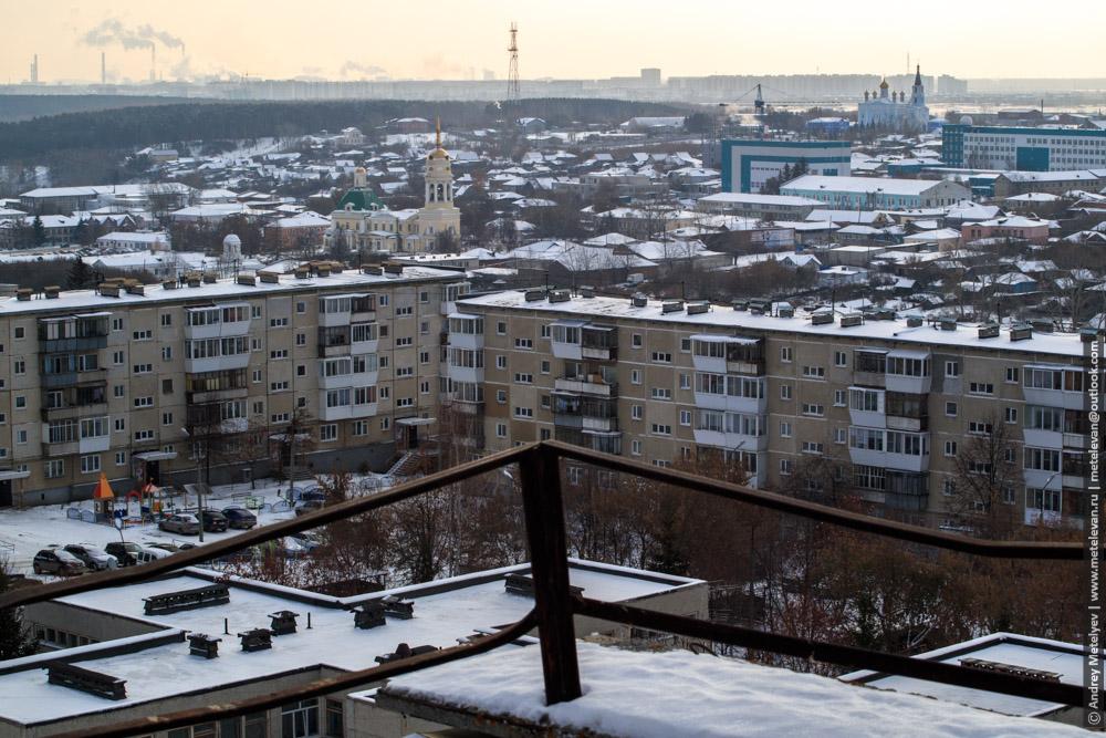 вид с крыши Прокопьева 15 города Каменск-Уральский