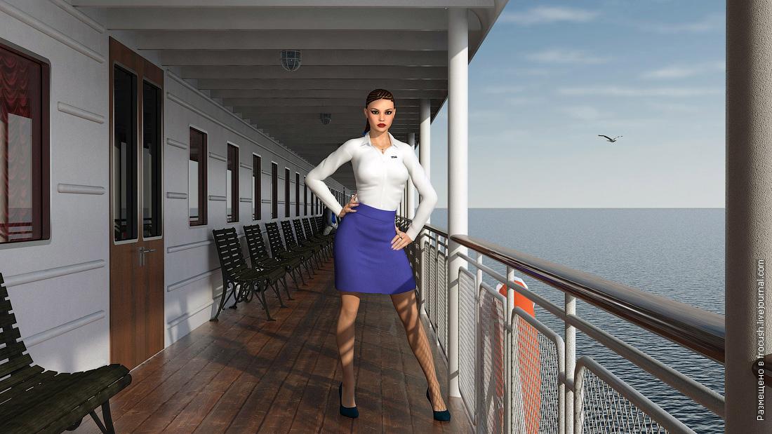 представительница Волжского пароходства на борту дизель-электрохода Ленин 3D модель