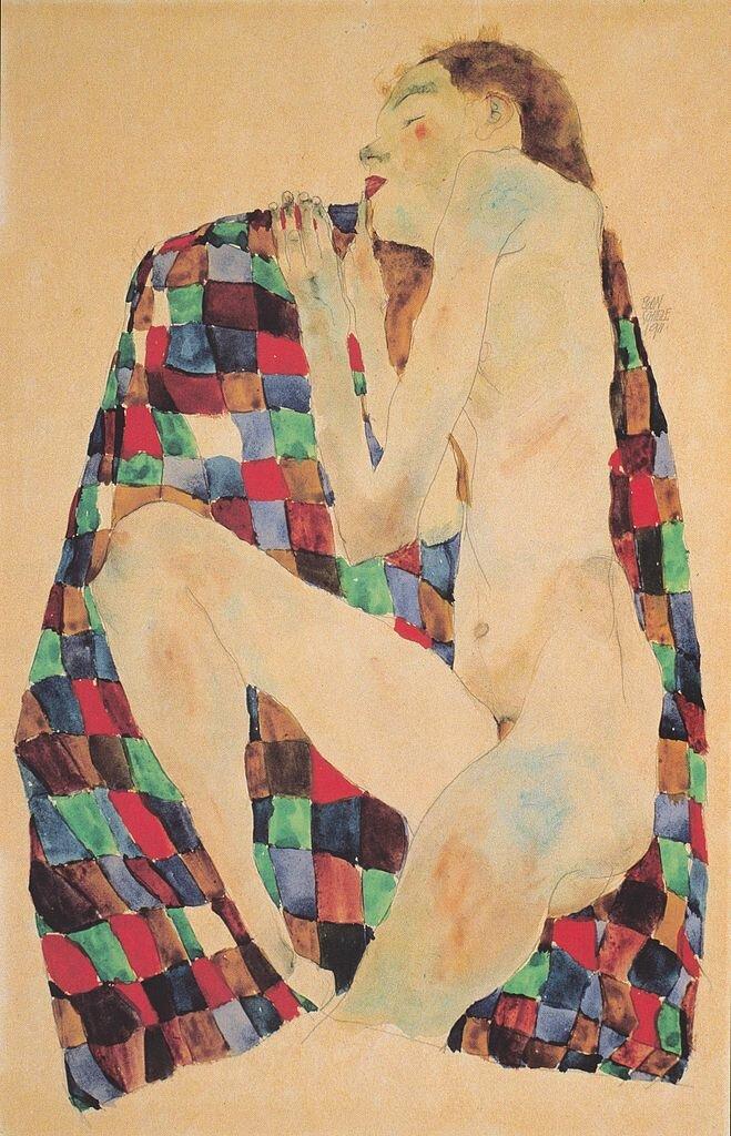 Обнажённая на покрывале в клетку 1911, Шиле Эгон (1890-1918