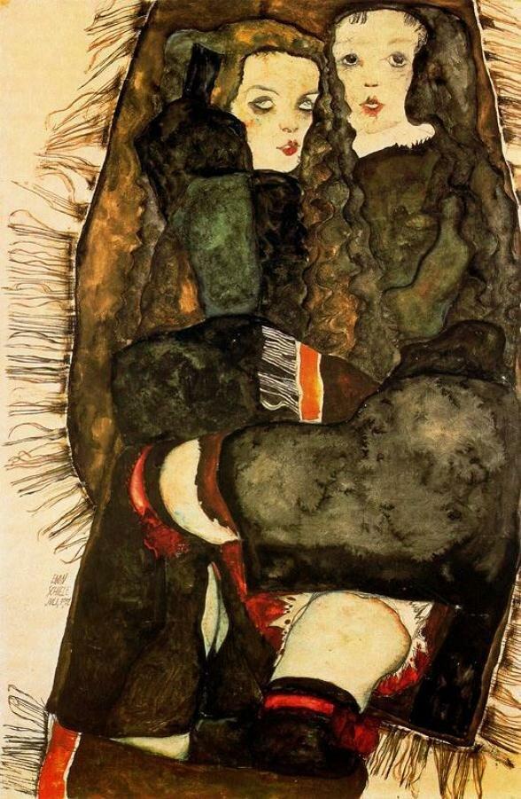 Две девушки в покрывале с бахромой._Шиле Эгон (1890-1918)