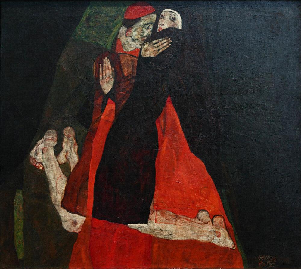 Кардинал  и монахиня (нежность) 1912, Шиле Эгон (1890-1918)