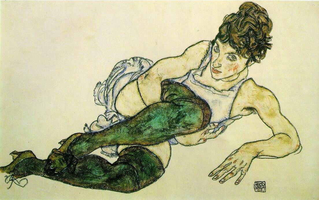 Лежащая женщина в зелёных чулках. 1917,Шиле Эгон (1890-1918), Гуашь и чёрный мелок на бумаге.