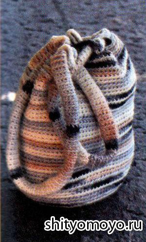 Меланжевый рюкзак, связанный