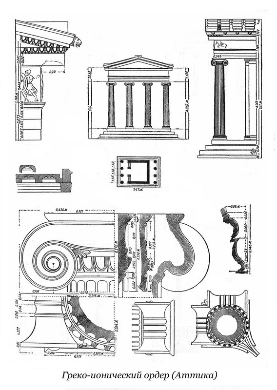 Греко-ионический ордер в Аттике, чертежи