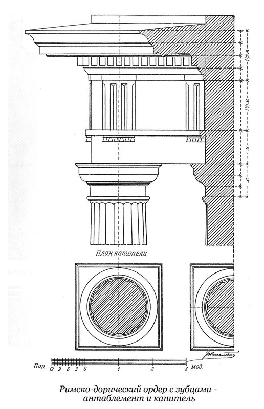 Чертежи капители и антаблемента зубчатого римско-дорического ордераа