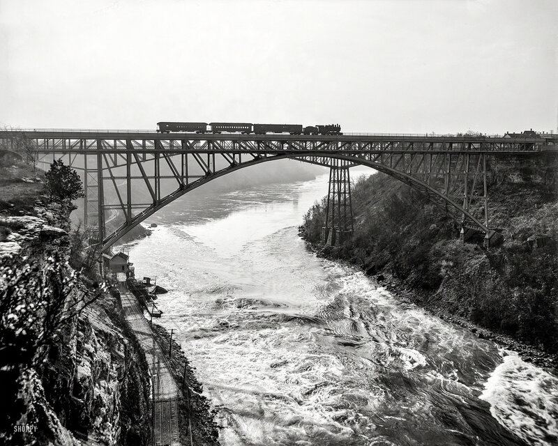 Circa 1900. Niagara Falls, New York. Whirlpool Rapids (Grand Trunk Railway) Bridge with Michigan Central Cantilever Bridge in background