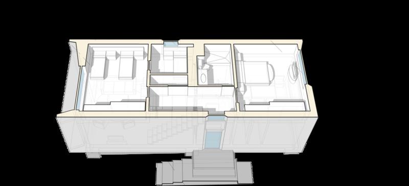 План второго этажа, ванная комната, кладовая, спальня для гостей, лестница, гостиная, изолированные помещения