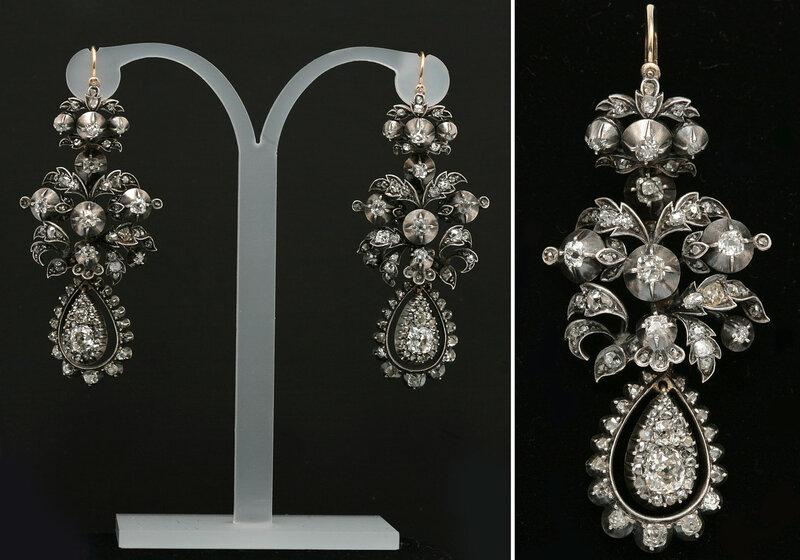 Серьги с природными алмазами и бриллиантами. Золото, серебро, 219 природных алмазов и бриллиантов. 2 бриллианта старинной огранки 1.10 карат, цвета 6/I, чистоты 7а/SI2; 20 бриллиантов старинной огранки 3.40 карат, цвета 4/H, чистоты 4-5/VS-SI; 197 бриллиа