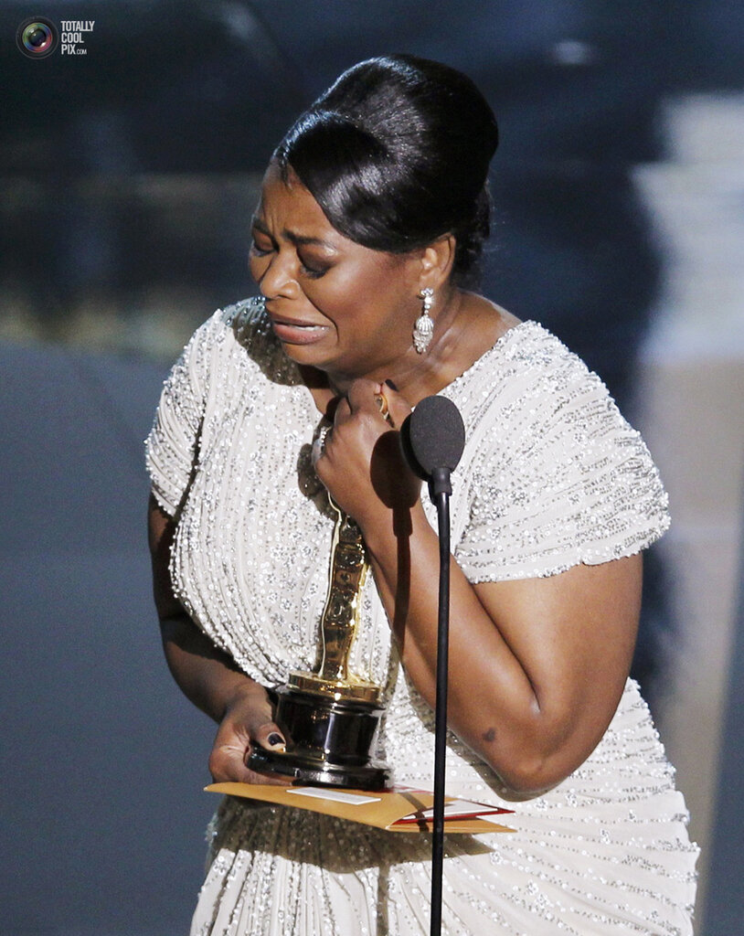 Spencer, cries after winning the Oscar for best supporting actress for her role in The Help