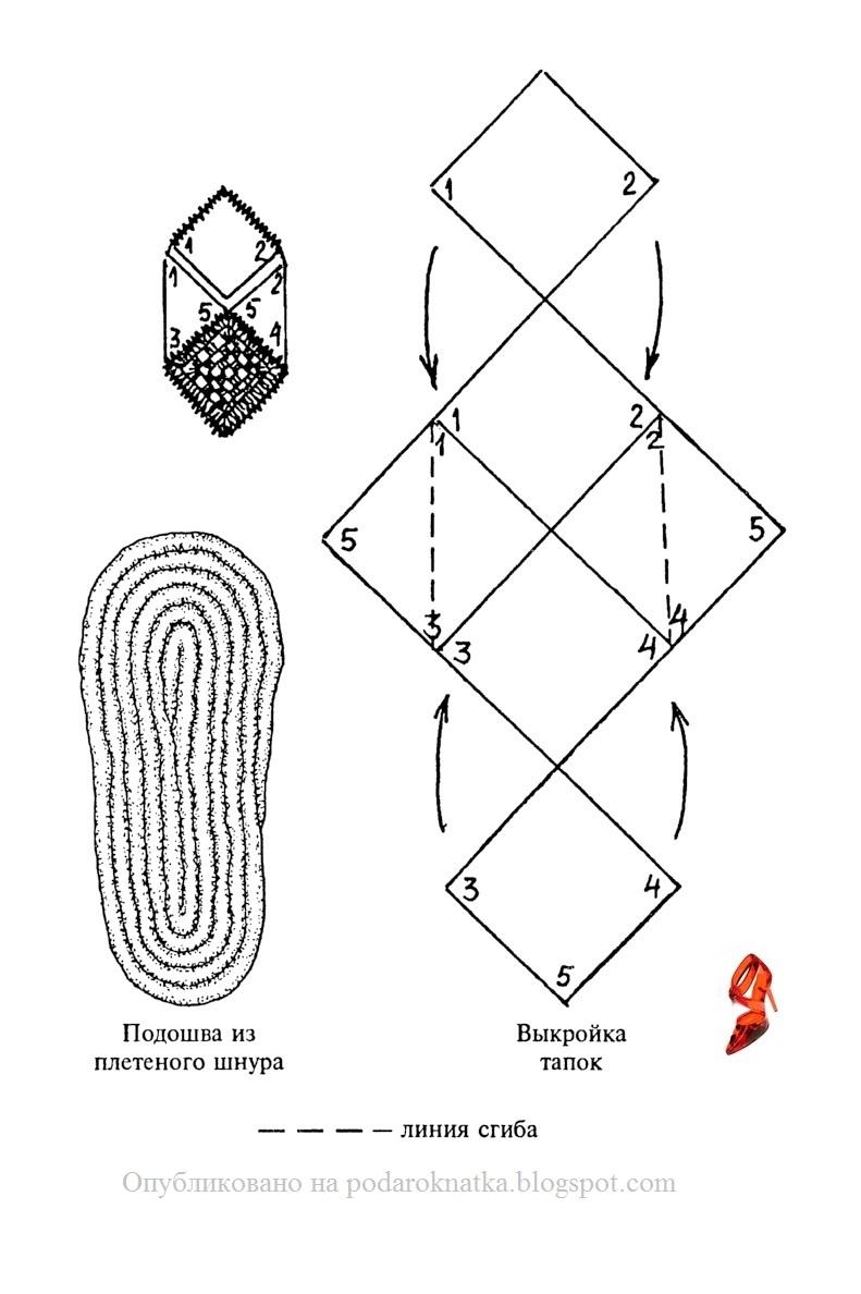Вязание крючком тапочек из квадратов схемы описание 26