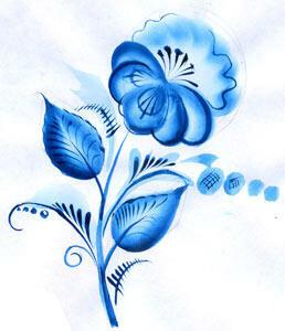 Рисунки цветов из гжели 105