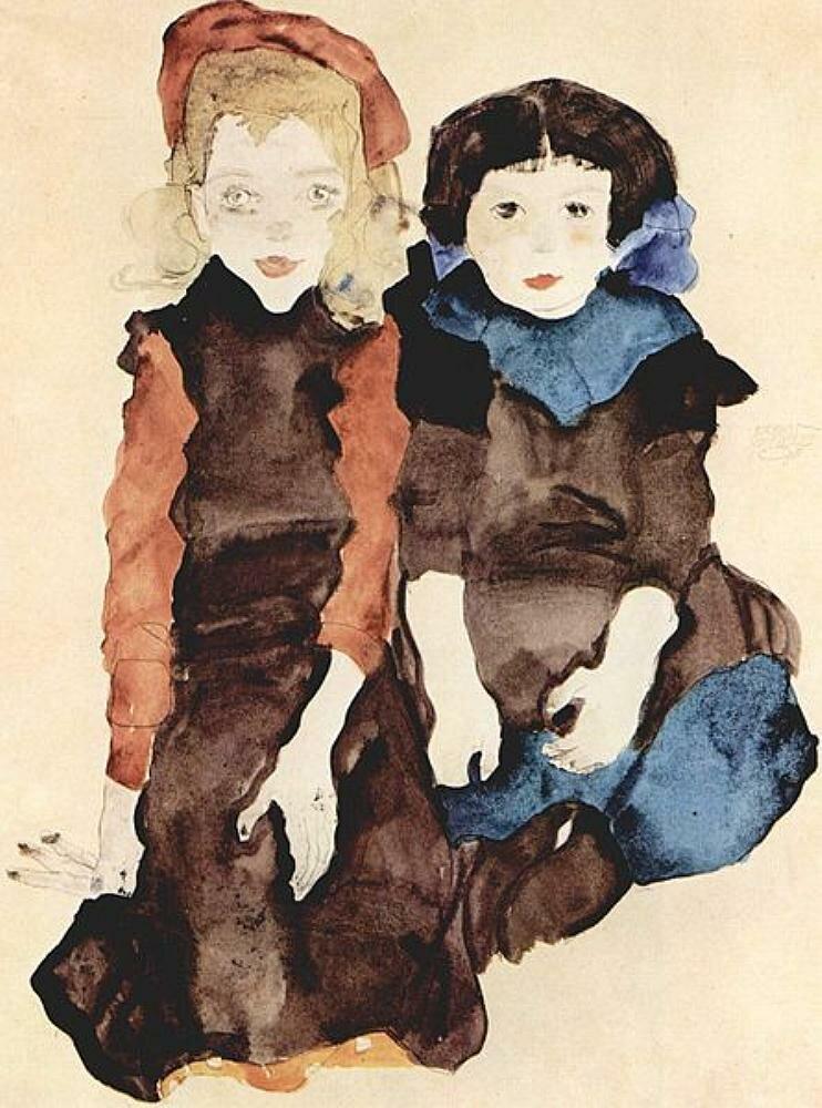 Две маленькие девочки.1911 Шиле Эгон (1890-1918)