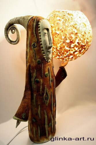 Дердинг Шар-шулмус  керамический светильник, абажур папье-маше