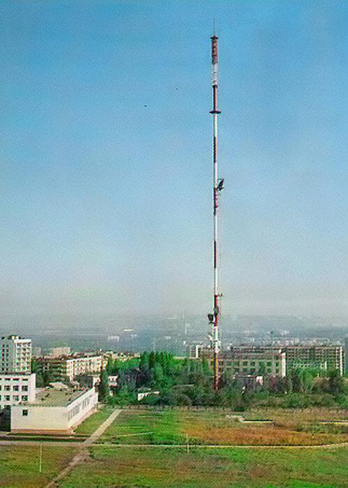 Вид на белгородскую телевышку в середине 1980-х