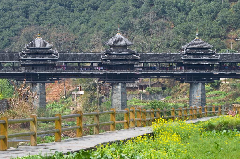 16. Мост Ветра и Дождя the Yongji Bridge (永济桥) в деревне Ма'ан. Как мы путешествовали по Китаю.