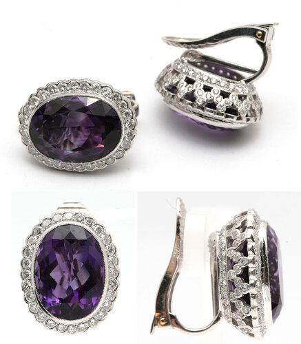 Cерьги с аметистами и бриллиантами. 45000-85000 рублей