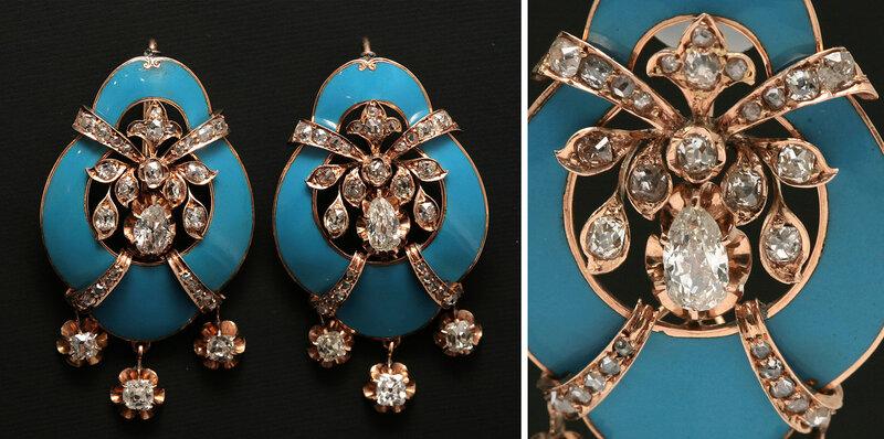 """Серьги с природными алмазами и бриллиантами. Золото. Голубая эмаль. Вставки: 2 бриллианта старинной огранки """"груша"""" ~ 1.4 карата, цвета 5/H, чистоты 5-6/VS2-SI1, каждая серьга имеет 3 подвески в виде цветков, украшенных 6 бриллиантами старинной огранки """"к"""