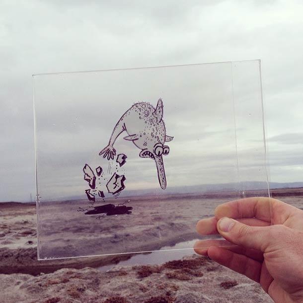 Quand un illustrateur insere ses doodles dans la realite