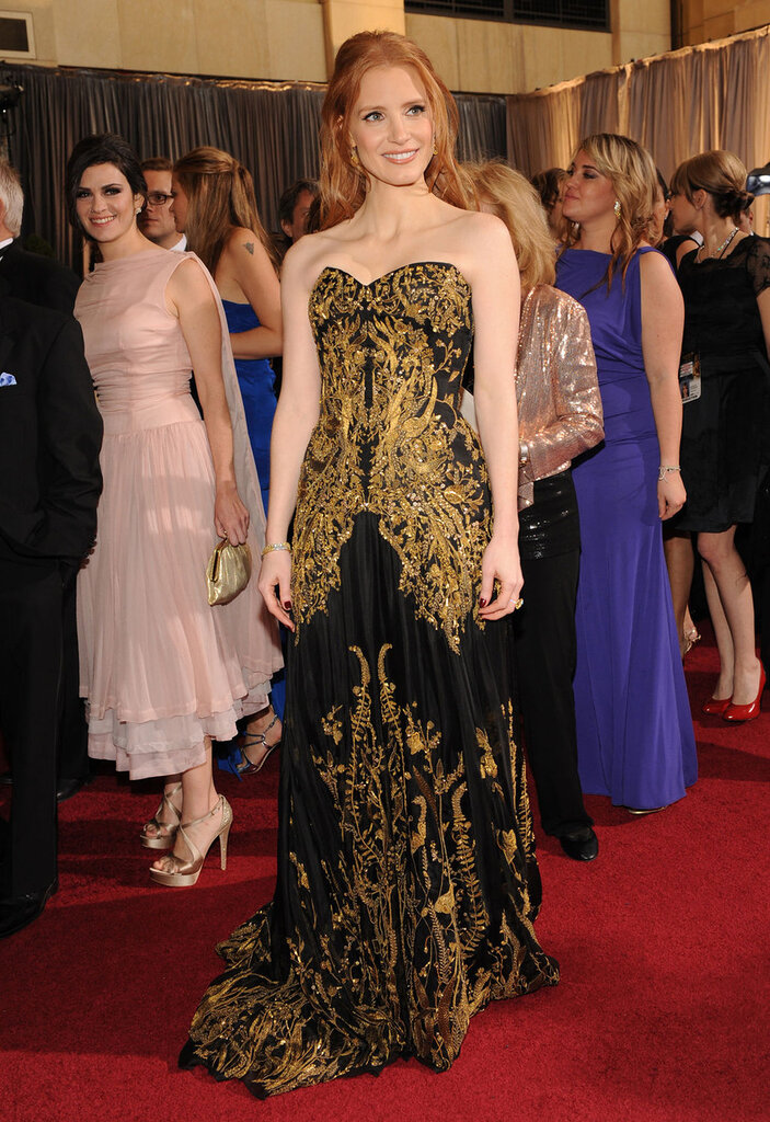 Jessica Chastain arrives for the 84th Academy Awards in Los Angeles