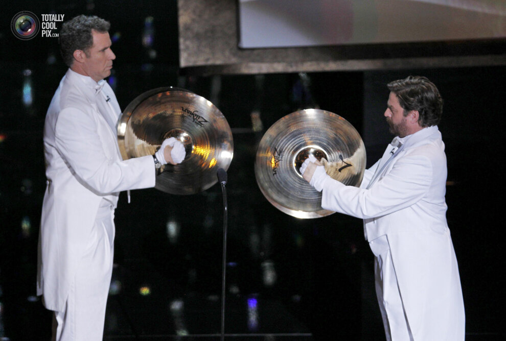 Ferrell and Galifianakis prepare to present the Oscar Best Original Song
