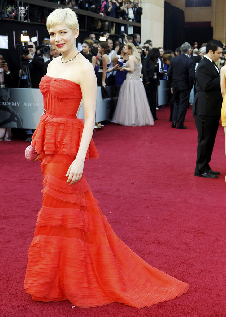 Williams, best actress nominee for her role in My Week with Marilyn, arrive