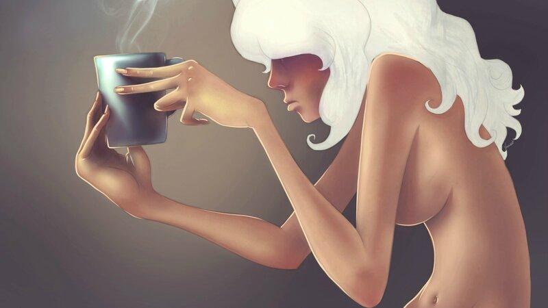 """Оригинал - Схема вышивки  """"Девушка с чашкой кофе """" - Схемы автора  """"krotte """" - Вышивка крестом."""