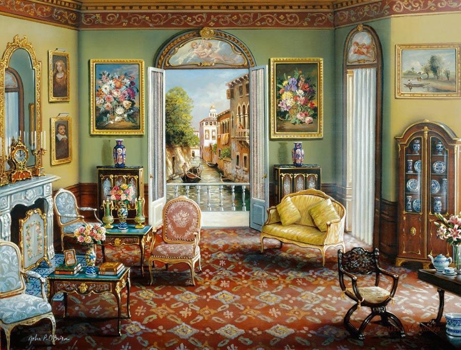 стены комнат убраны были несколькими картинками и картинками в старинных