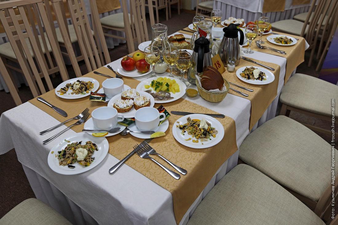стол №18 в ресторане теплохода Русь Великая во время Капитанского ужина