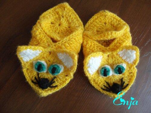 Sarı motifli kedili patik