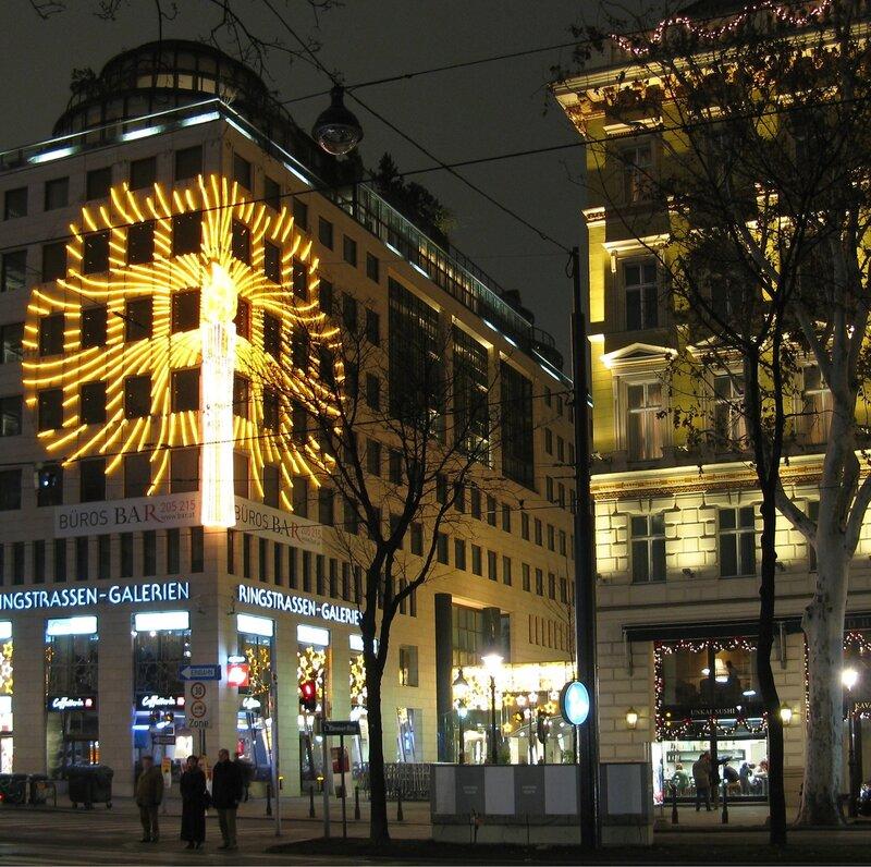 Ночная Вена. Кернтнер Pинг в рождественской иллюминации