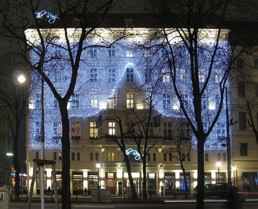 Night Vienna. Kärntner Ring in Christmas illumination