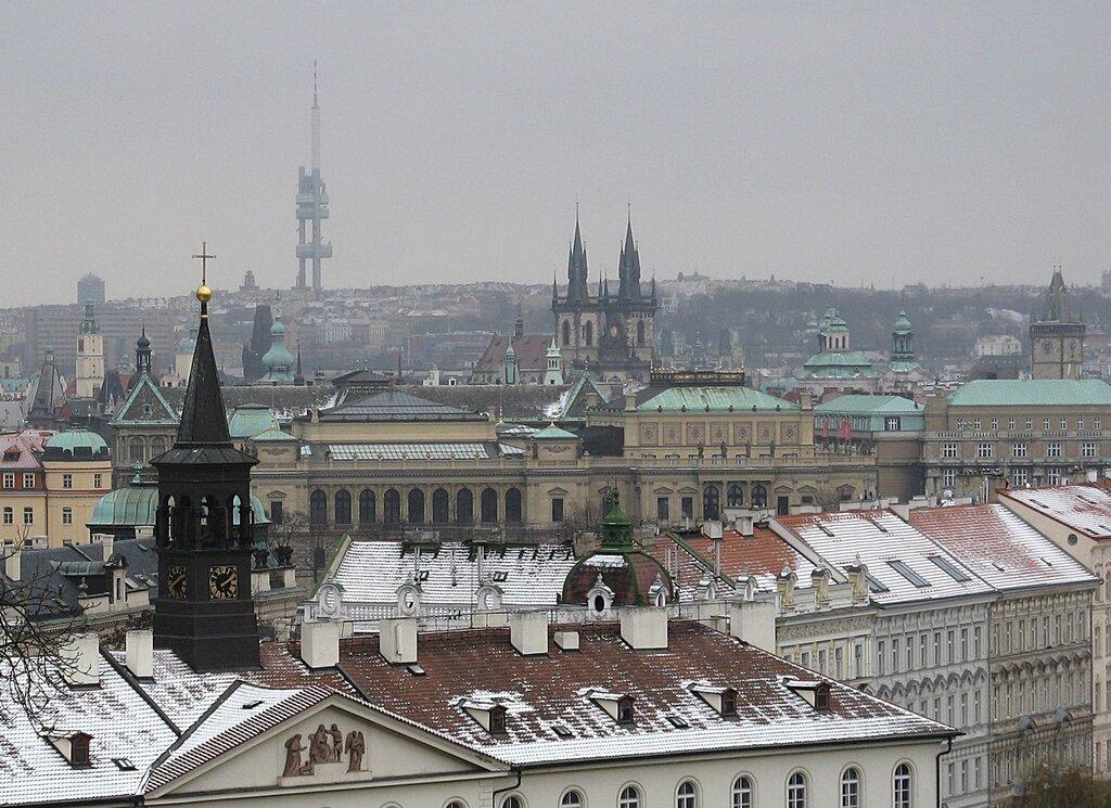 Winter in Prague. View from the Plečnik Lookout