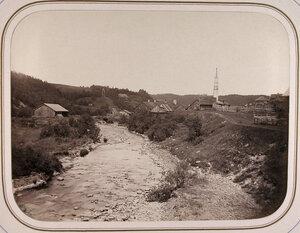 Вид на территорию чугунного и желез[оделатель]ного завода Гаврилы Москвина (на реке Усланке).