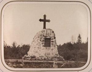 Вид на крест,поставленный в память посещения Петром I Тихвинской водной системы (в 1712 и 1716гг.).