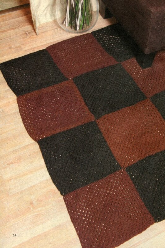 """Размер 1 квадрата:20 х 20 см. Для изготовления коврика Вам потребуется:пряжа  """"Суфле """" (100% акрил, 292 м/100 г)..."""