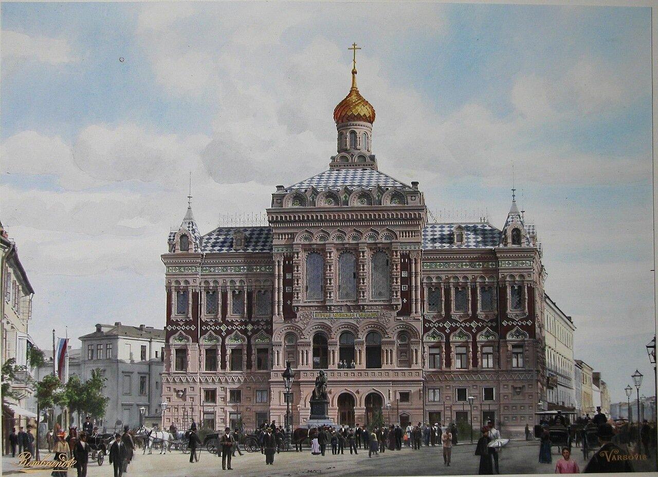 Вид здания I-й мужской гимназии и памятник Н. Копернику