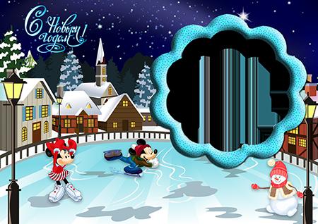 Рамка для фото на Новый год с катающимися на коньках по льду Микки, Минни и снеговиком рядом с домами