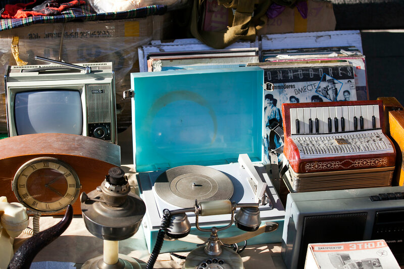 Accordion, gramophone, old phone and music accessories