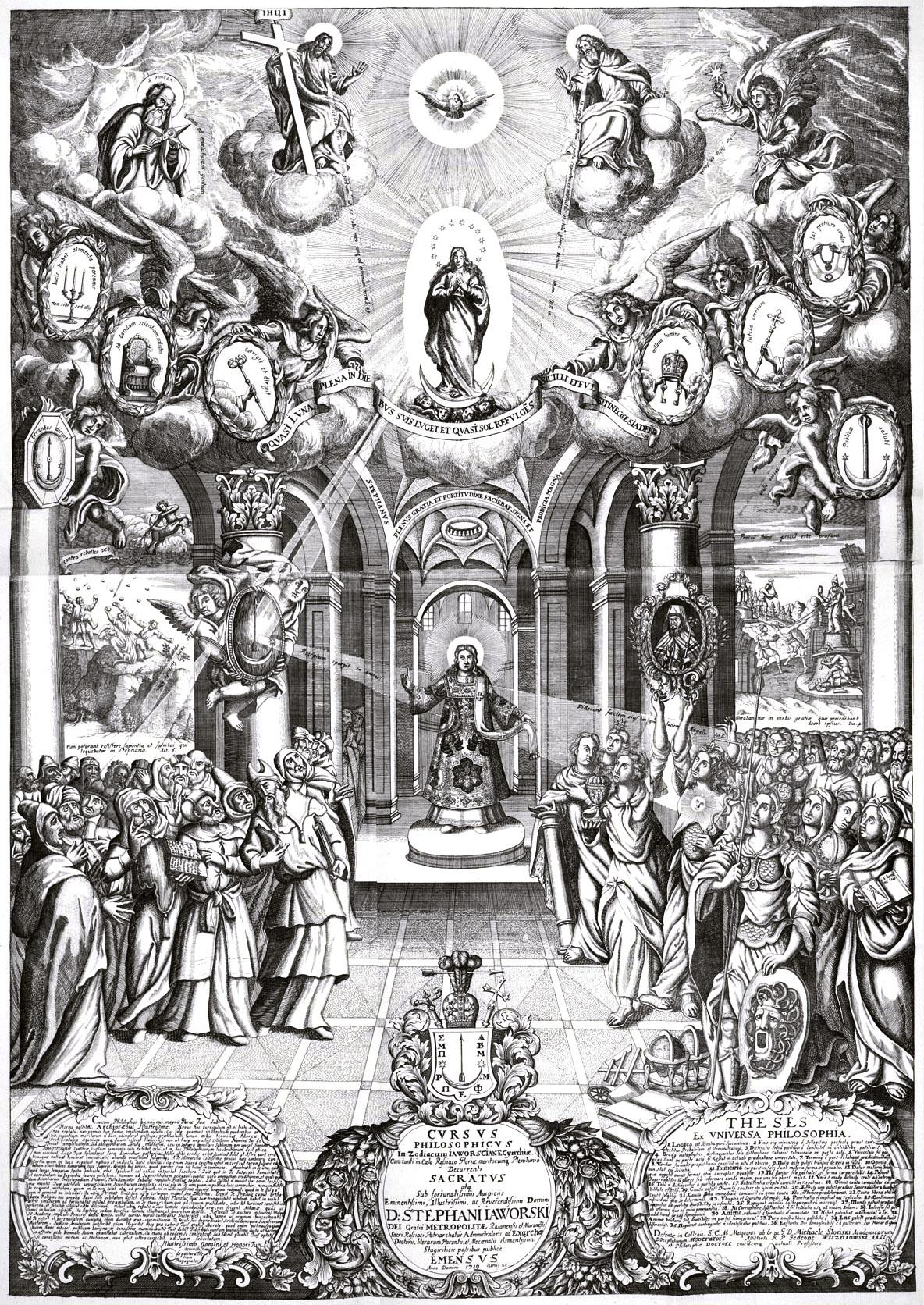 349. Тезис, посвященный Стефану Яворскому, с его портретом и с изображением еретиков, посрамляемых христианскими добродетелями.