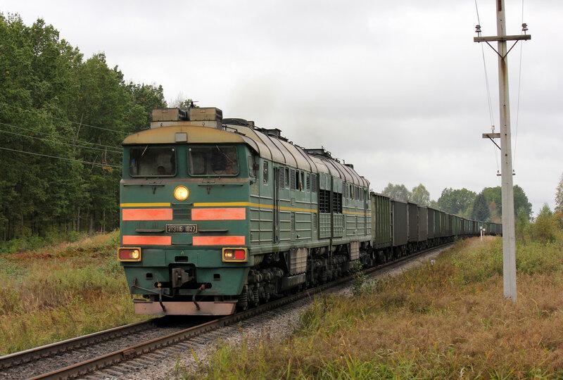 2ТЭ116-1027 на перегоне Земцы - Подсосенка