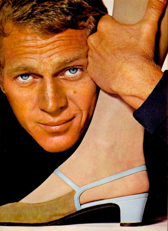 Model Jean Shrimpton & actor Steve McQueen, Harper's Bazaar magazine, February, 1965