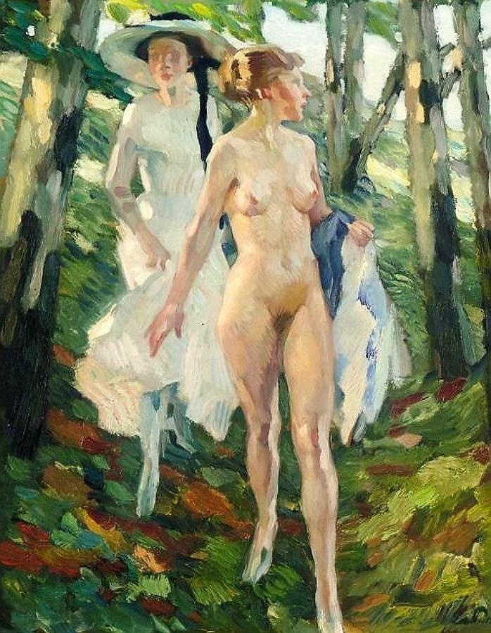 Две девушки в лесу, Путц, Лео (1869 - 1940)