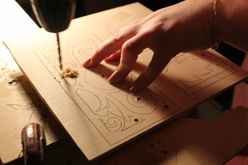 Коробочка для бумаг  с часами. Катрин Крылова