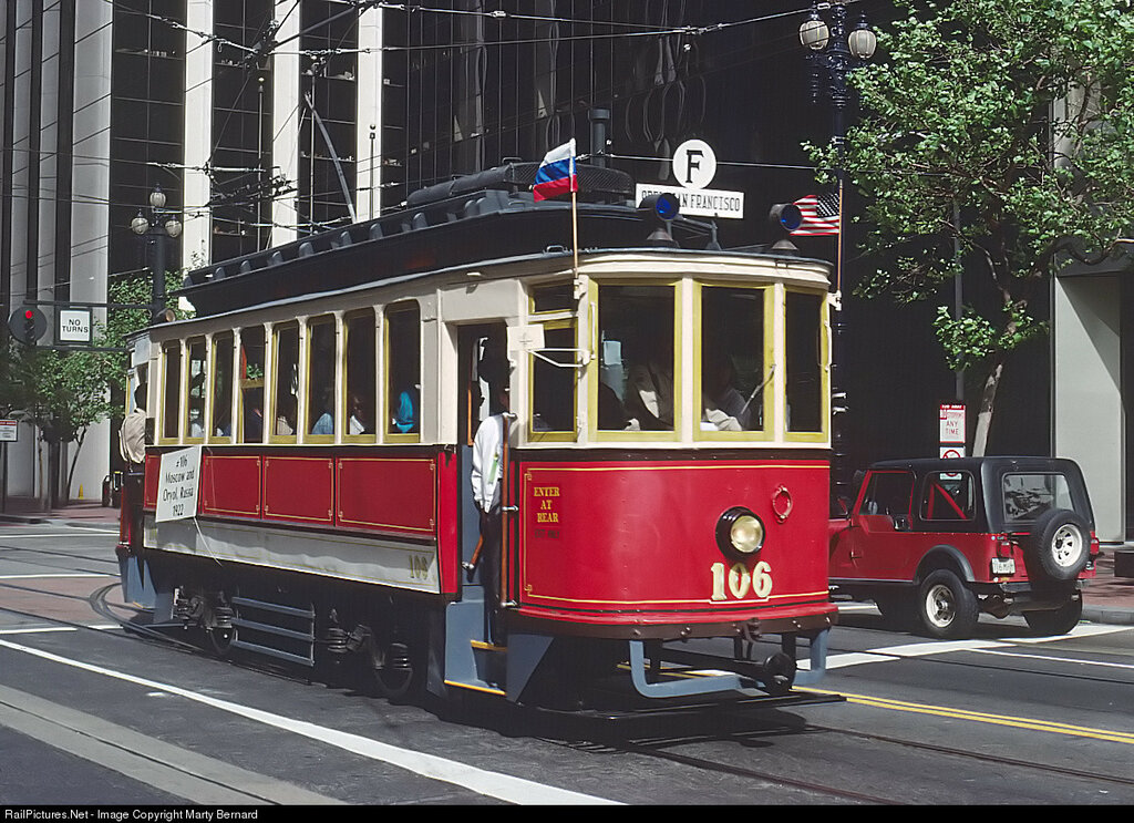 MUNI 106 in Historic Street Car Parade, San Francisco, CA, 4.15.1992. Built in 1922 for Moscow, Russia