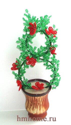 Рукоделие - бисероплетение в подарок на весенний женский праздник 8 Марта - цветущее дерево из бисера.