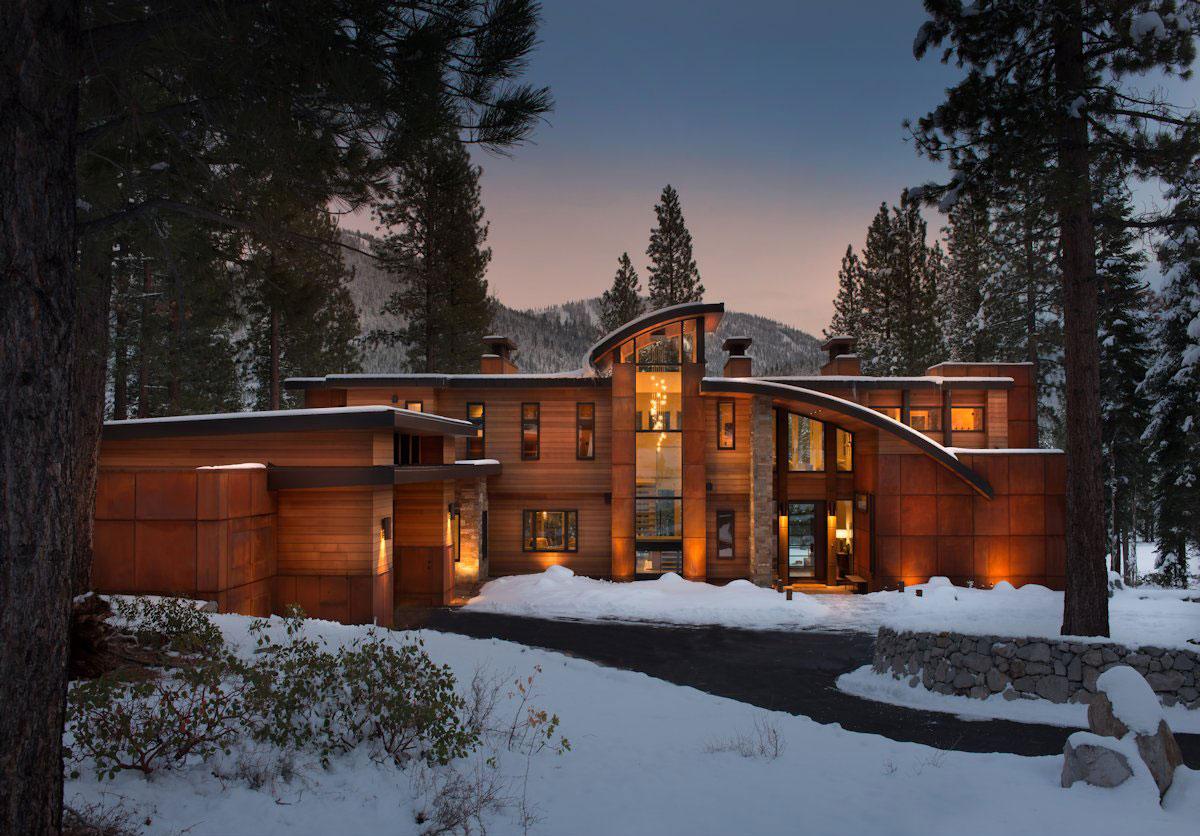Martis Camp - Lot 189, Martis Camp, Swaback Partners, дом на озере Тахо, дом с видом на лес, резиденция в Калифорнии, деревянный фасад частного дома