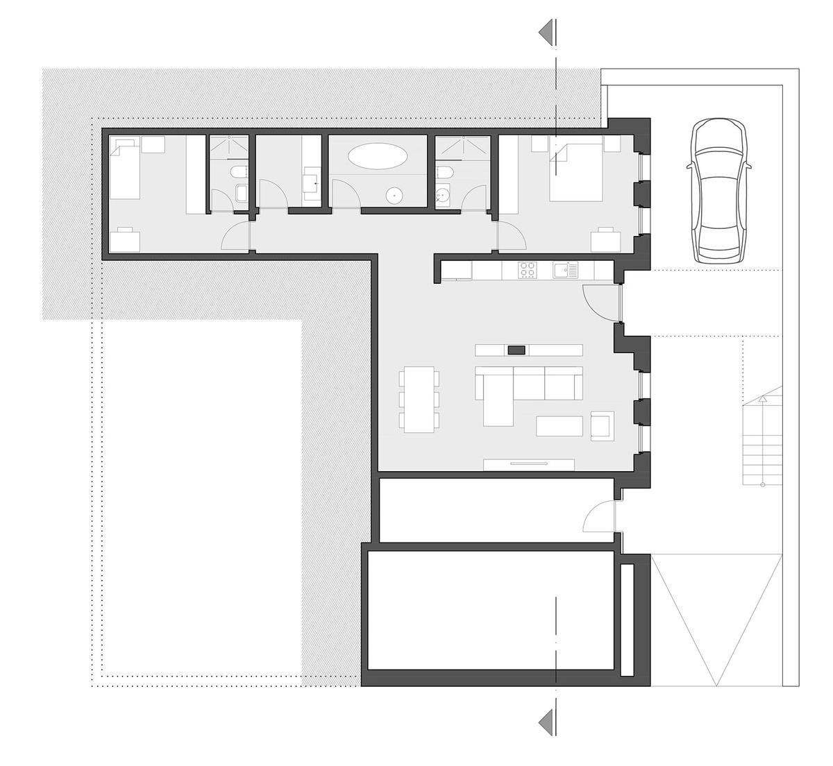 планировка частного дома, Gumus Su Villas, Cirakoglu Architects, фасад из камня, камень в интерьере, частный дом на склоне горы, потрясающий вид из окон