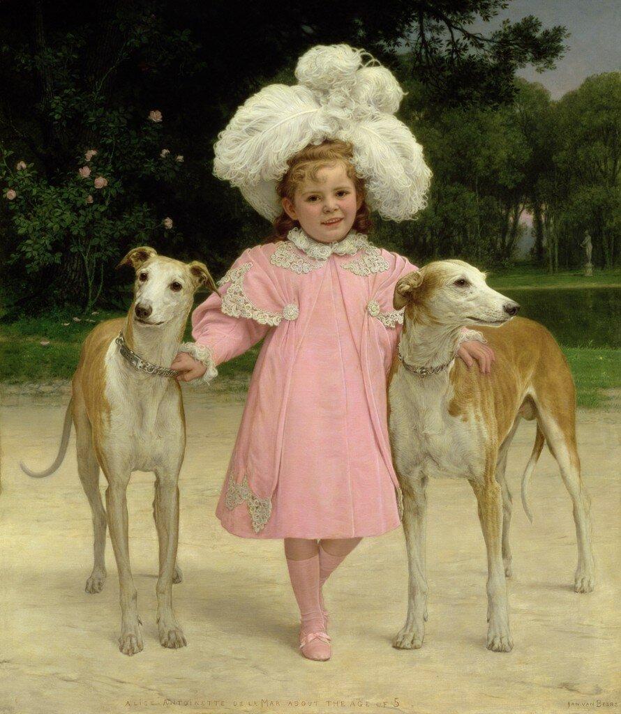 Дети и собаки на картинах.