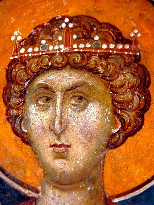 Святой Великомученик Георгий Победоносец. Фреска церкви Св. Николая Орфаноса в Салониках, Греция. XIV век.